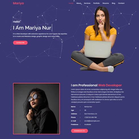 Mariya Personal Portfolio HTML Template Example.