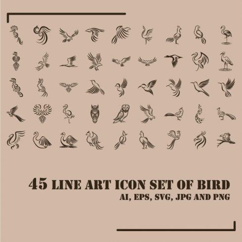 Line Art Icon Set of Bird Example.
