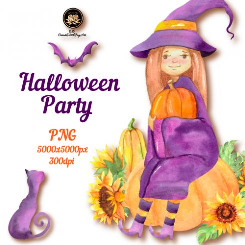 Halloween Party. Funny Witch Set Example.