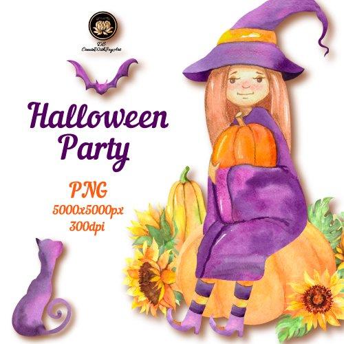 Watercolor girl in Halloween costume.
