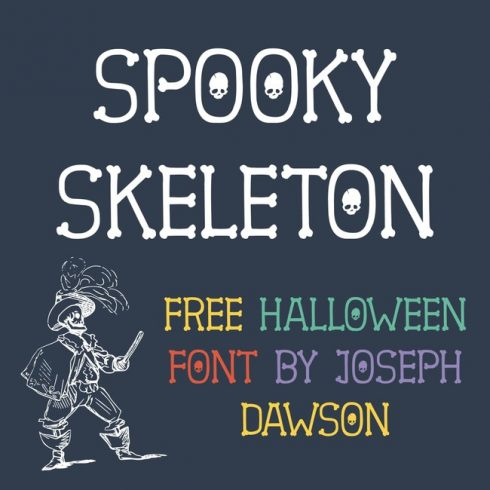 01 Free Spooky Font Skeleton main cover.