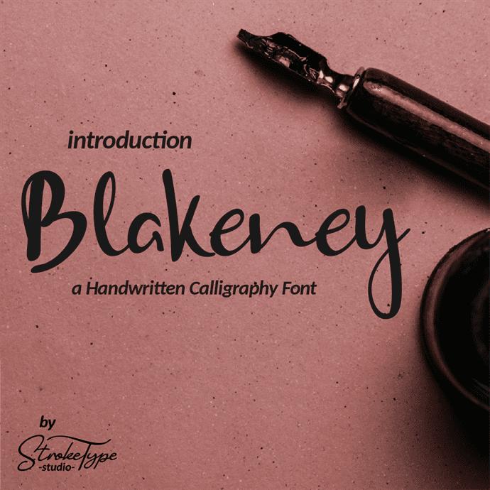 Blakeney Handwritten Font main cover.