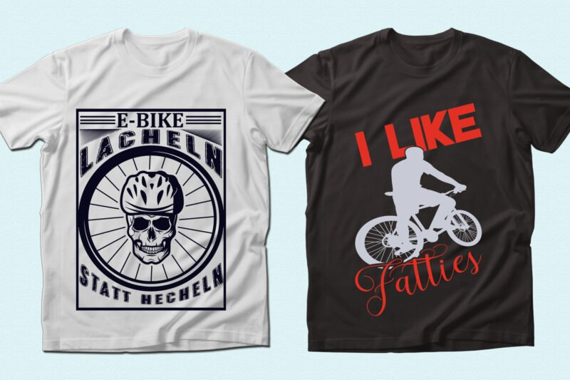 Two t-shirts- with scull and cyclist.