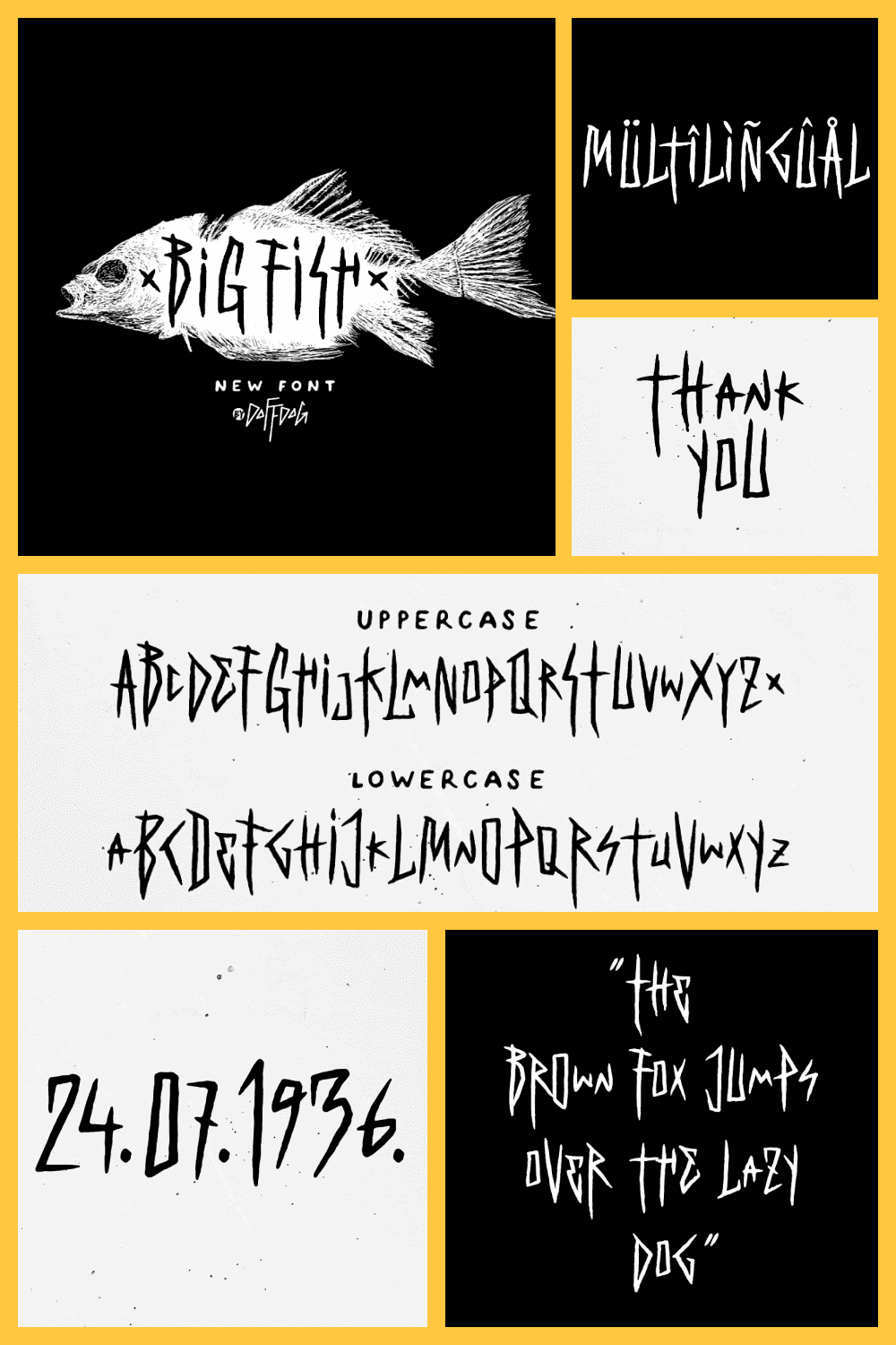 Big Fish is a decorative, metal and punk rock music inspired font.