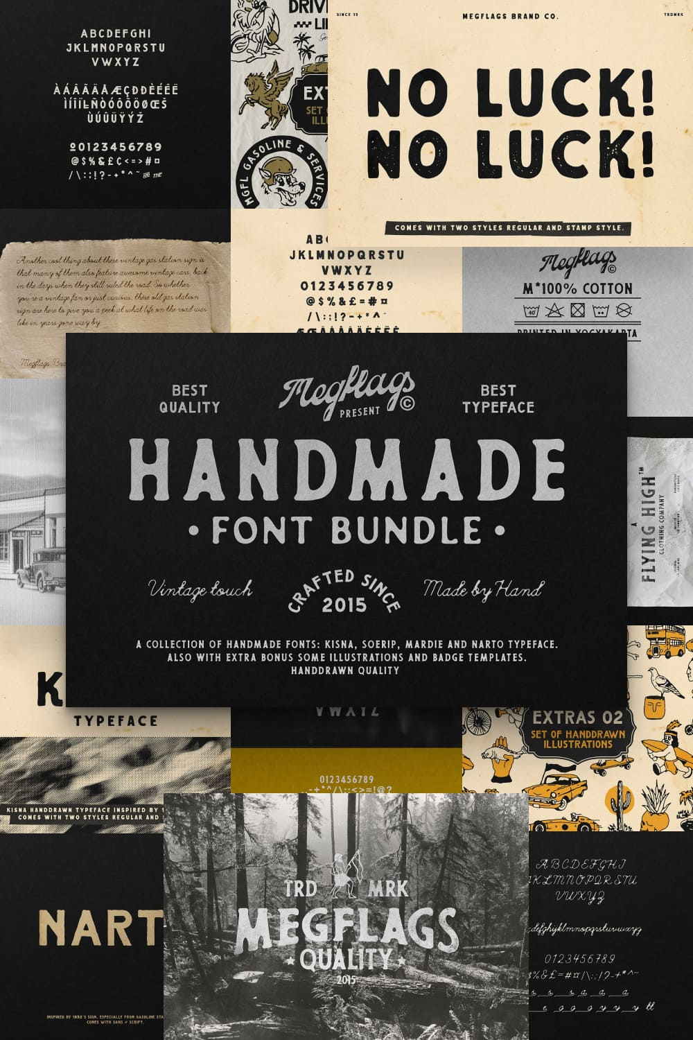 Vintage and craft typeface with slight scuffs.
