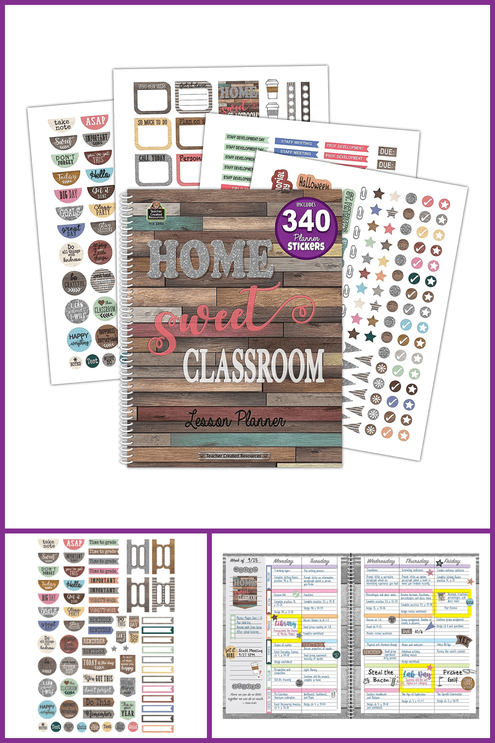 A set with a notebook and stickers for a variety of school notes.