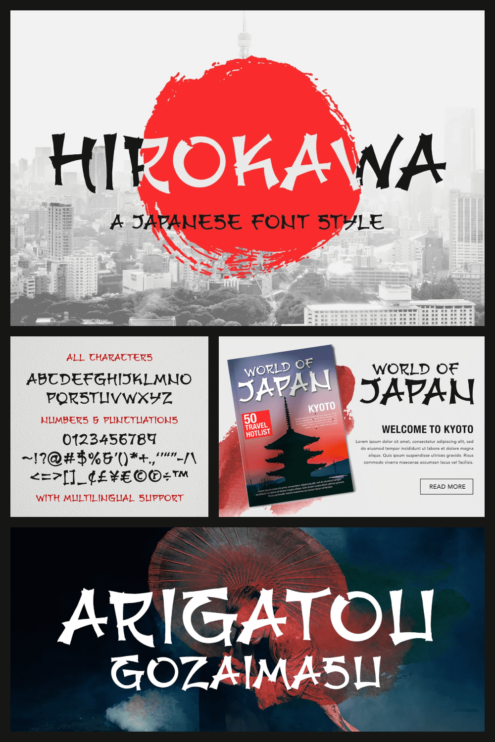 Hirokawa is a handcrafted, elegant font, containing the beautiful Japanese culture within.
