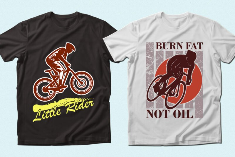 Black and white t-shirts with active cyclists.