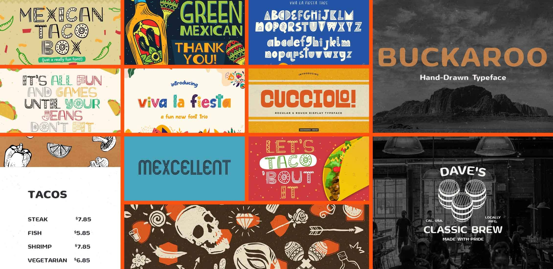 10 Best Mexican Style Fonts Example.