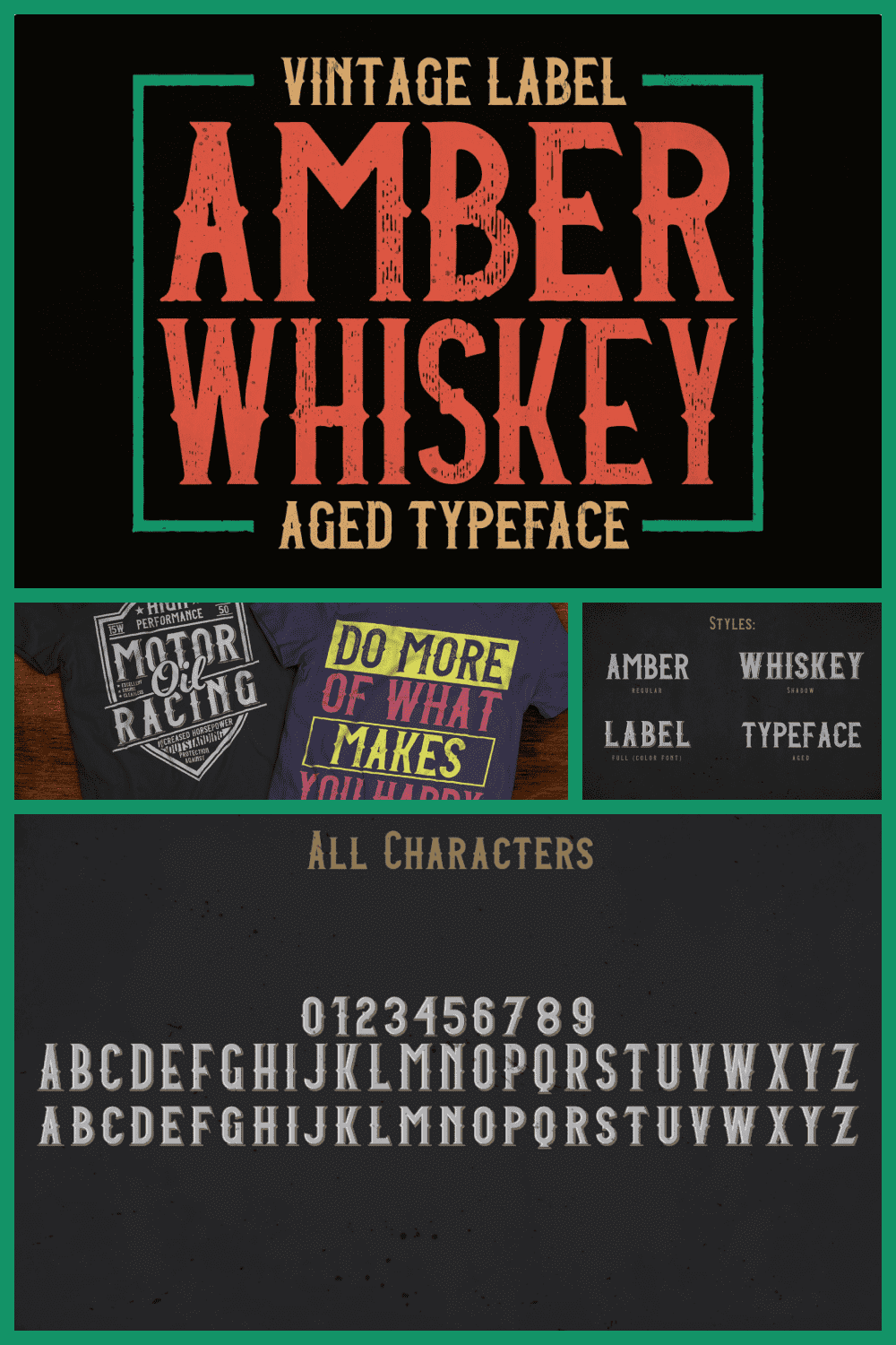 A vintage craft font with a slightly faded font.