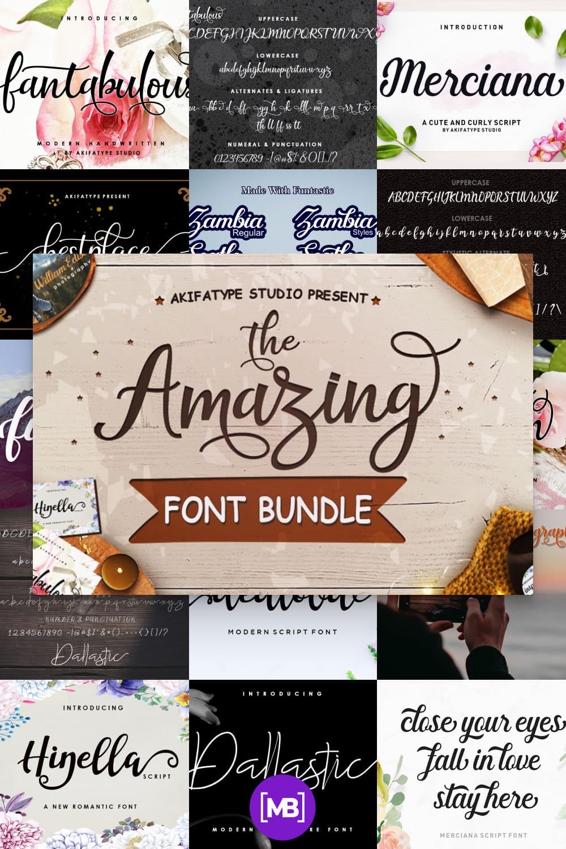 The Amazing Fonts Bundle is a romantic typefaces. bold, elegant & fun vintage script font.