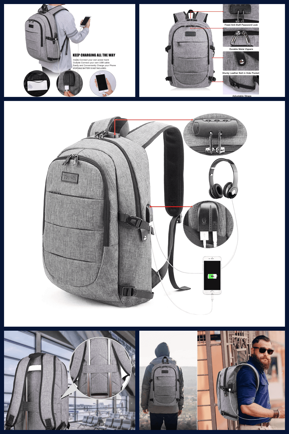 A capacious gray backpack with a stylish design.