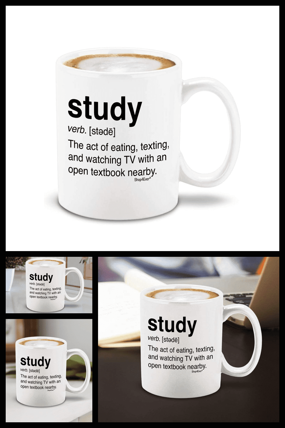 A simple white large cup with smart phrases from Wikipedia.