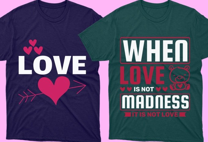T-shirts in green and purple colors for lovers.