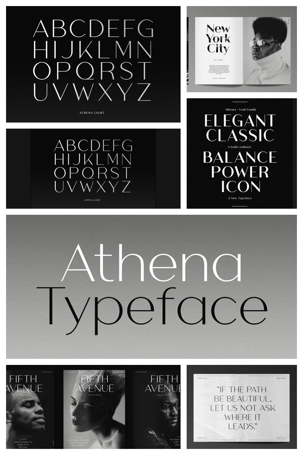 This is a modern take of the old didone genre, confidently playing with extremes of thick strokes and whisper thin curves, but removing the serifs, planting it firmly in modern day design.