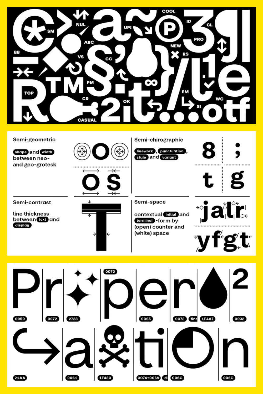 Casual pro font.