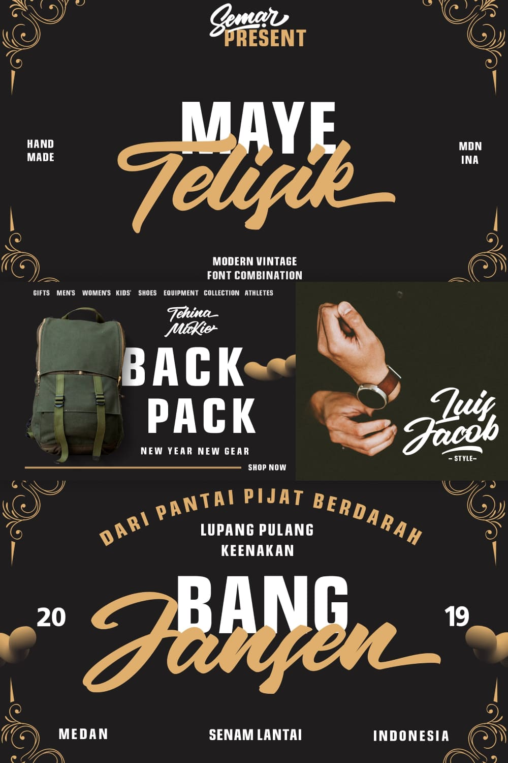 Telisik is an amazing font duo. It includes a modern sans and a vintage script version which can be combined perfectly.