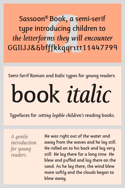 Semi-Serif Roman and Italic for typefaces for setting legible children's reading books.