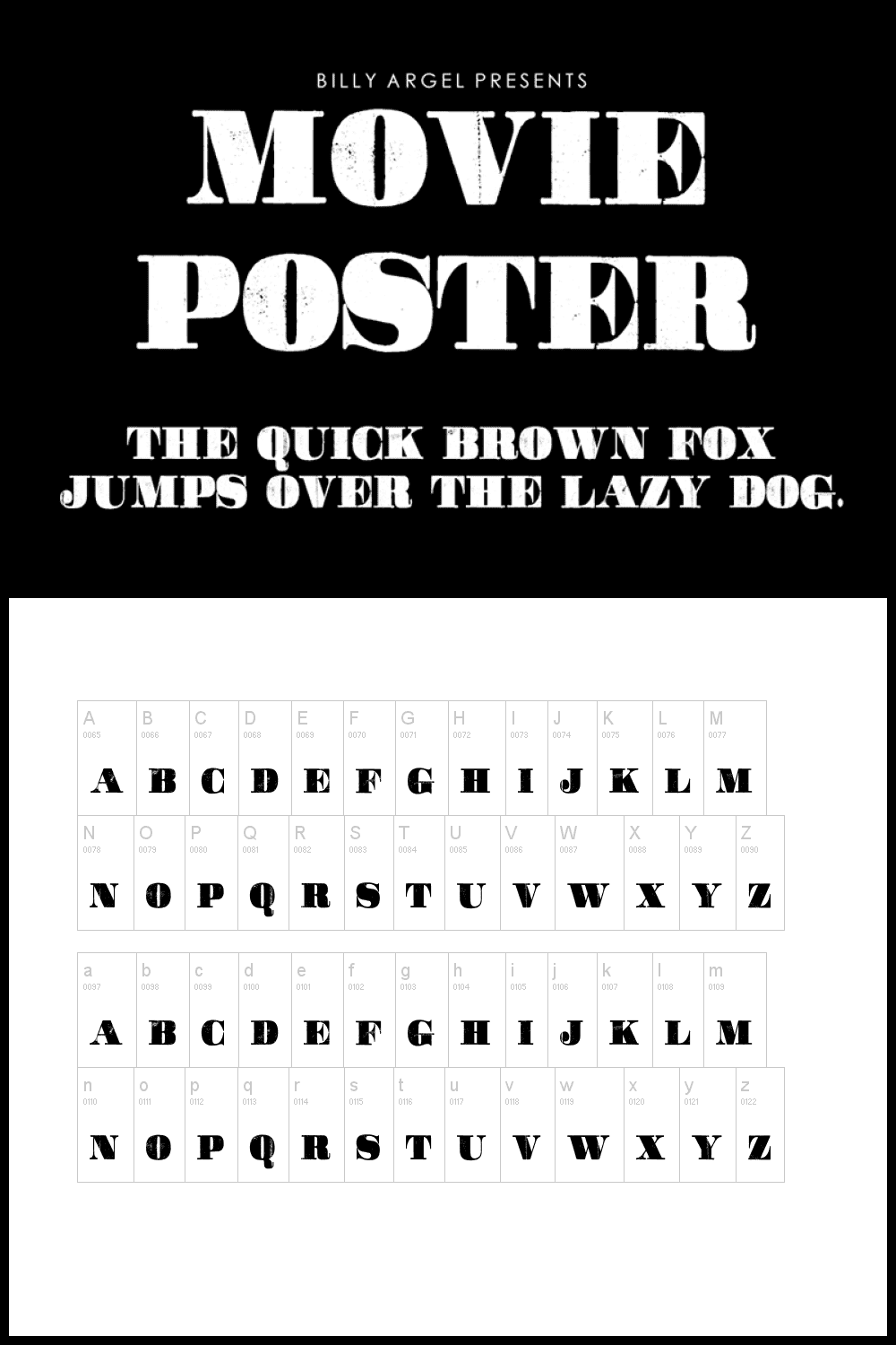 A massive font with worn black letters.