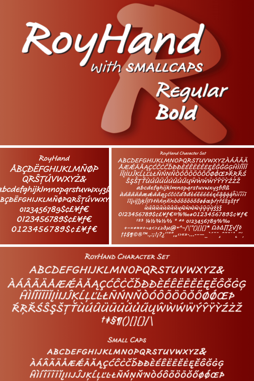 RoyHand regular and bold font.