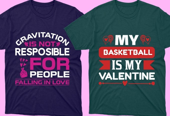 Green and purple t-shirts with colorful and special phrases.