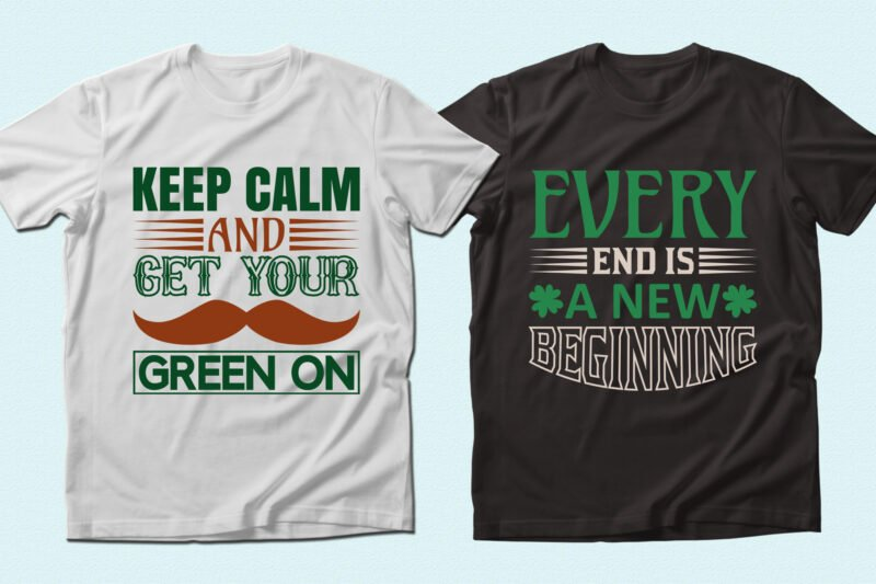 White and black t=shirts with green font.