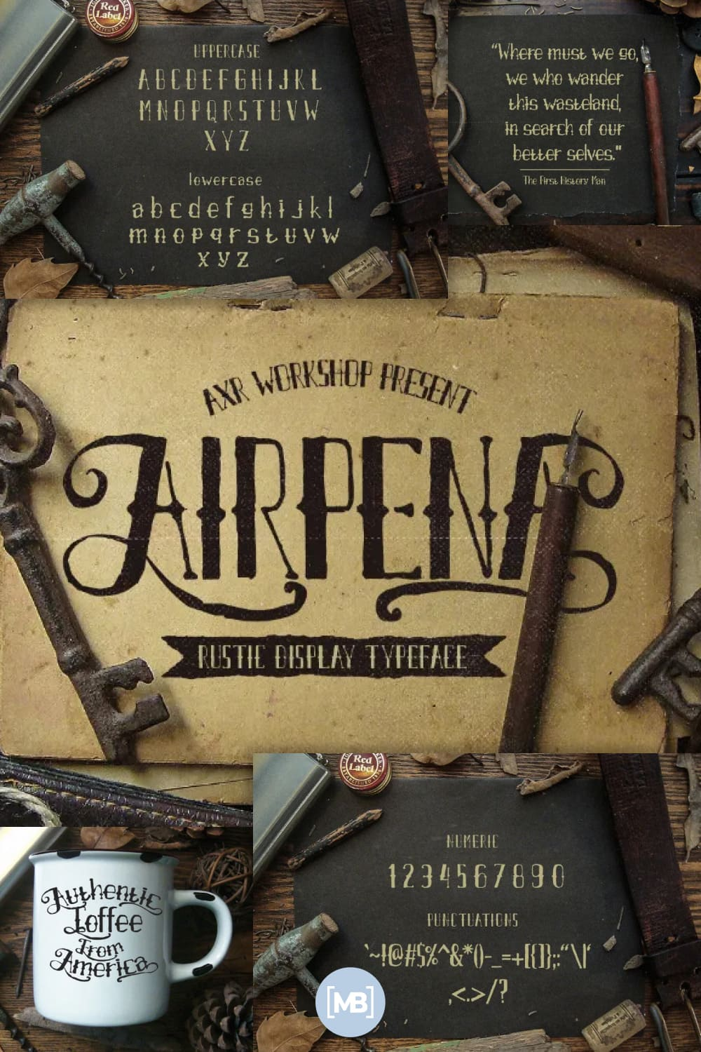 Airpena is represent the retro rustic style of it. It comes with full alphabet alternates.