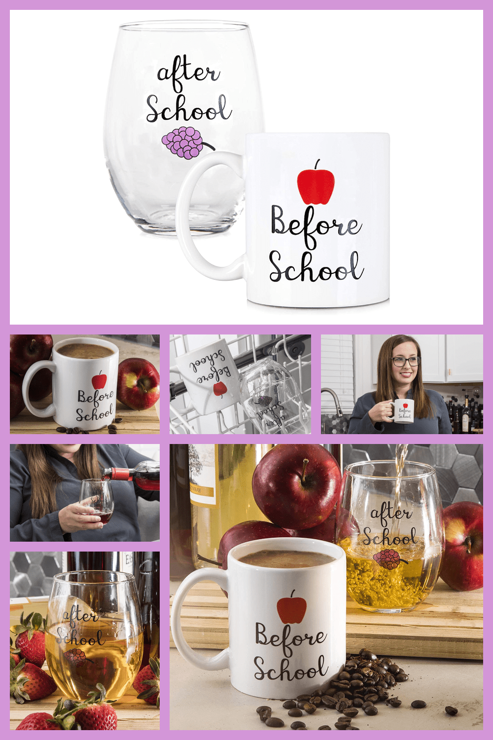 Two cups - one white in a classic style, the other semicircular and transparent. This can be a great gift for a homeroom teacher.