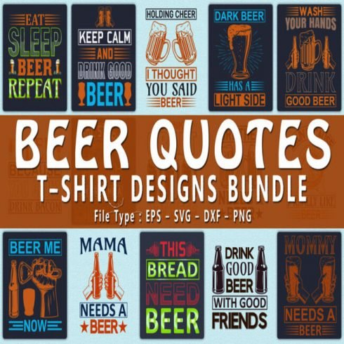 20 Beer Quotes T shirt Designs Bundle main image.