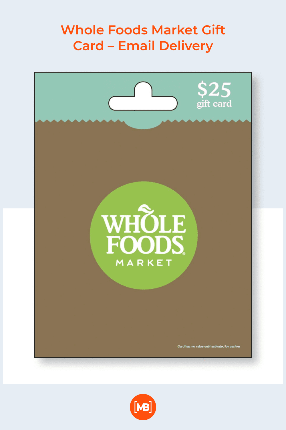 Whole foods market gift card.
