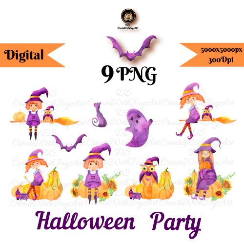 Halloween Party. Funny Witch set cover image.