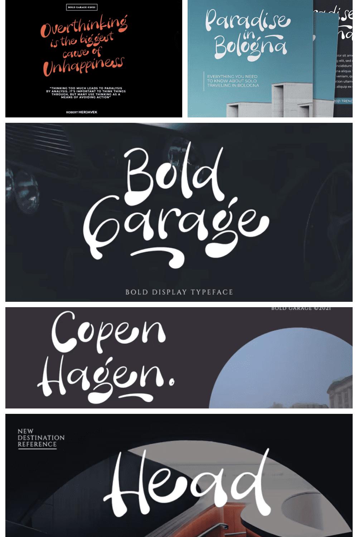 Bold garage font.