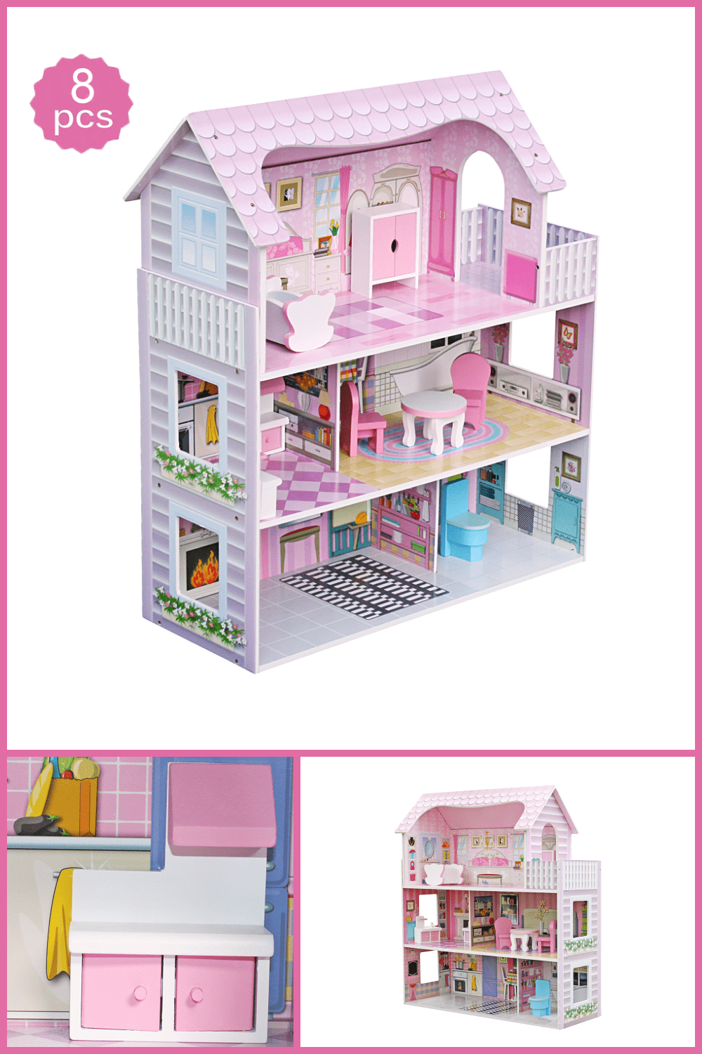 A pink dollhouse in which the story unfolds according to your child's script.