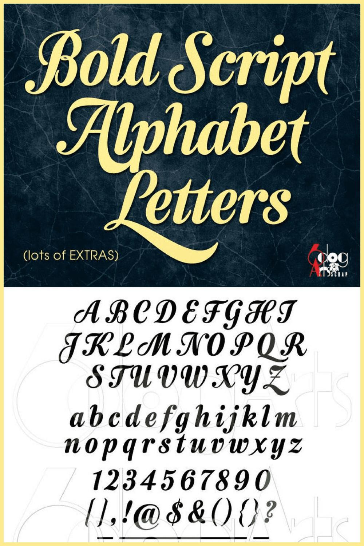 Bold script alphabet letters.