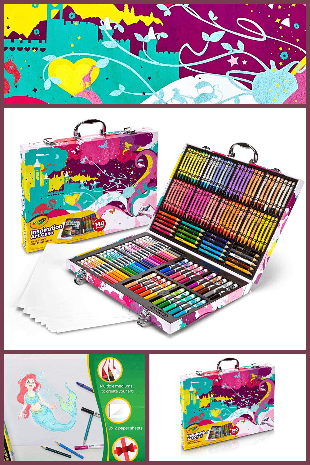 This is not just a set, this is the dream of every student in a drawing lesson. A large set of pencils, markers, paints and everything in one suitcase.