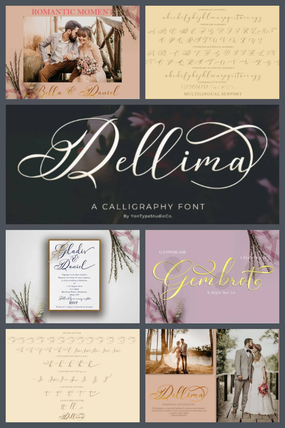 This is a new modern calligraphy font. This beautiful script is for those who need some elegance and style for their designs and is perfect for wedding invitations, date cards and feminine branding.