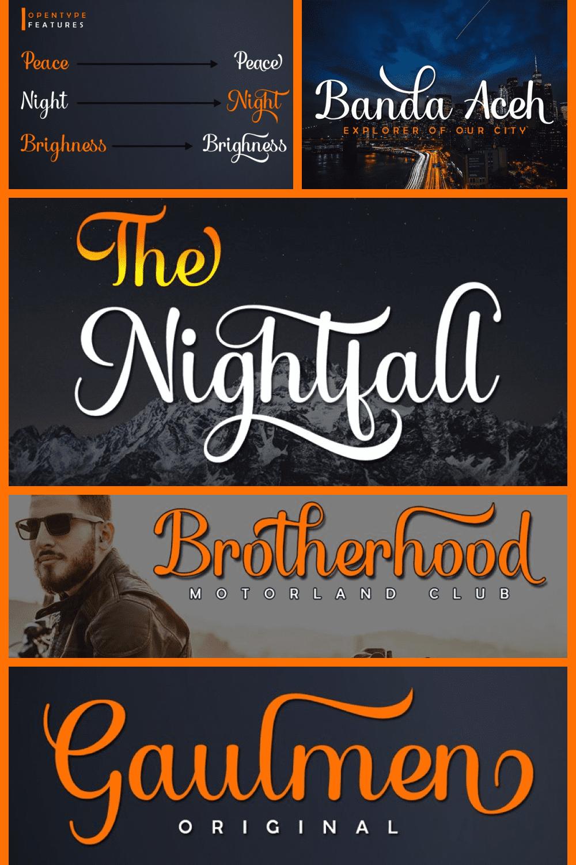 The bold font nightfall.