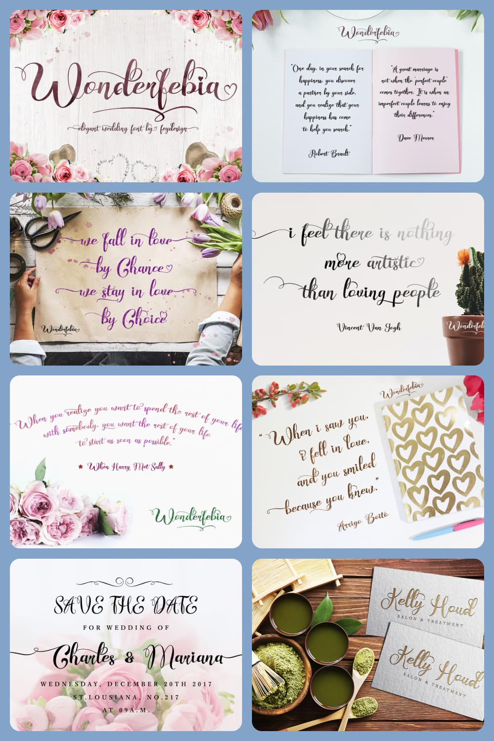 Wonderfebia is Script Wedding Font with modern calligraphy style so much opentype feature include of the font.