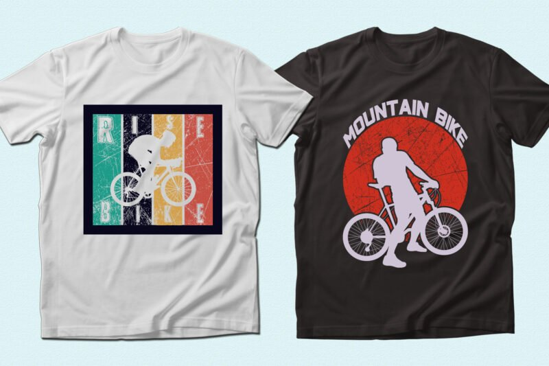 Vintage t-shirts with cyclist.
