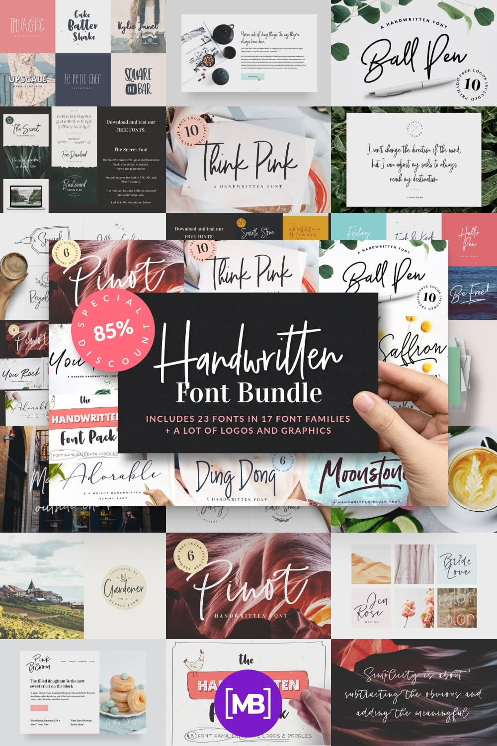 A creative font in a variety of styles and versatility.