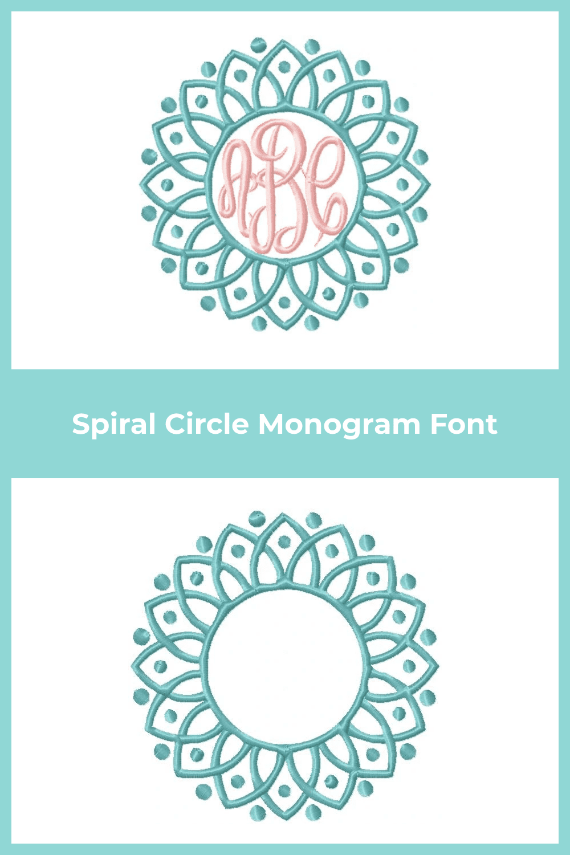 Spiral circle monogram font in flower format.
