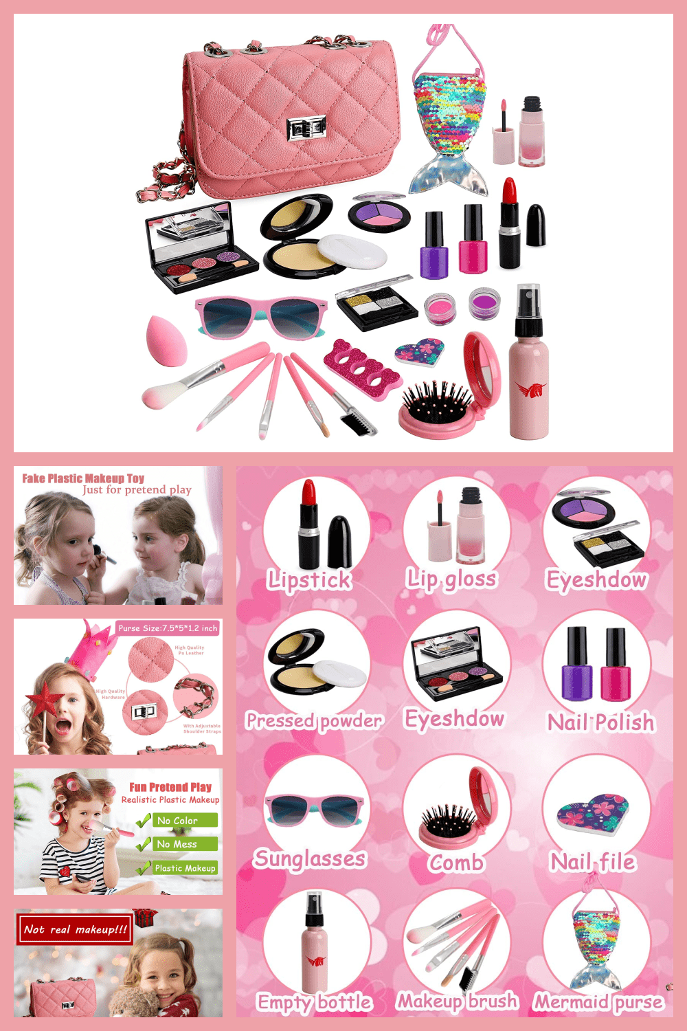 Mom's girls and makeup are neighbors who are constantly at war. With a set of baby cosmetics, you will calm your nerves and your child's love.