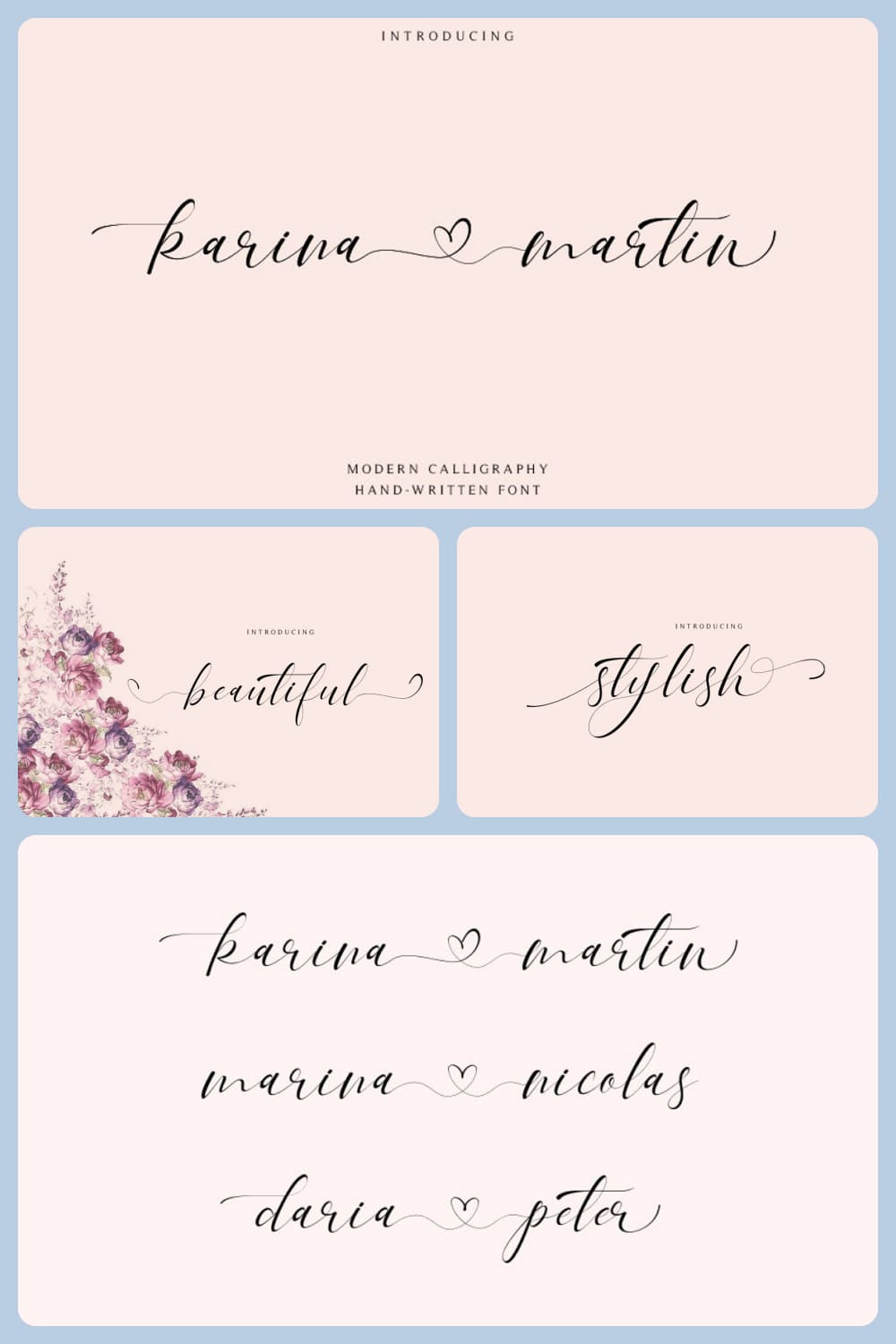 Thin italic typeface will perfectly complement a wedding card or invitation.