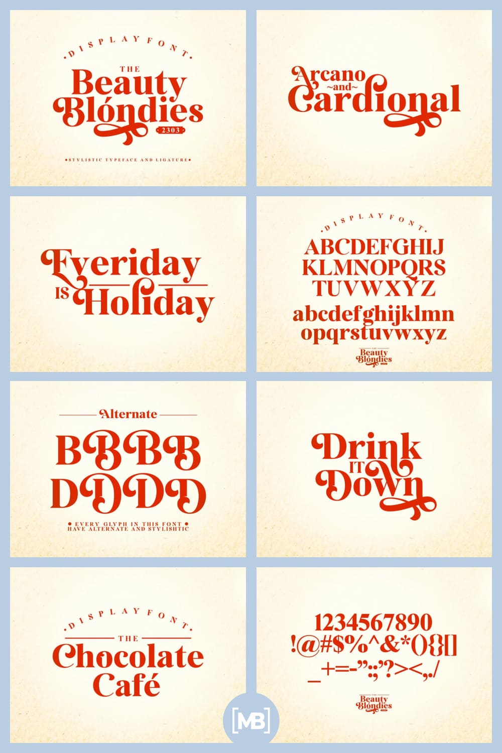 Beauty blondies is a serif typeface lifted up by a set of stylistic and alternate glyphs.