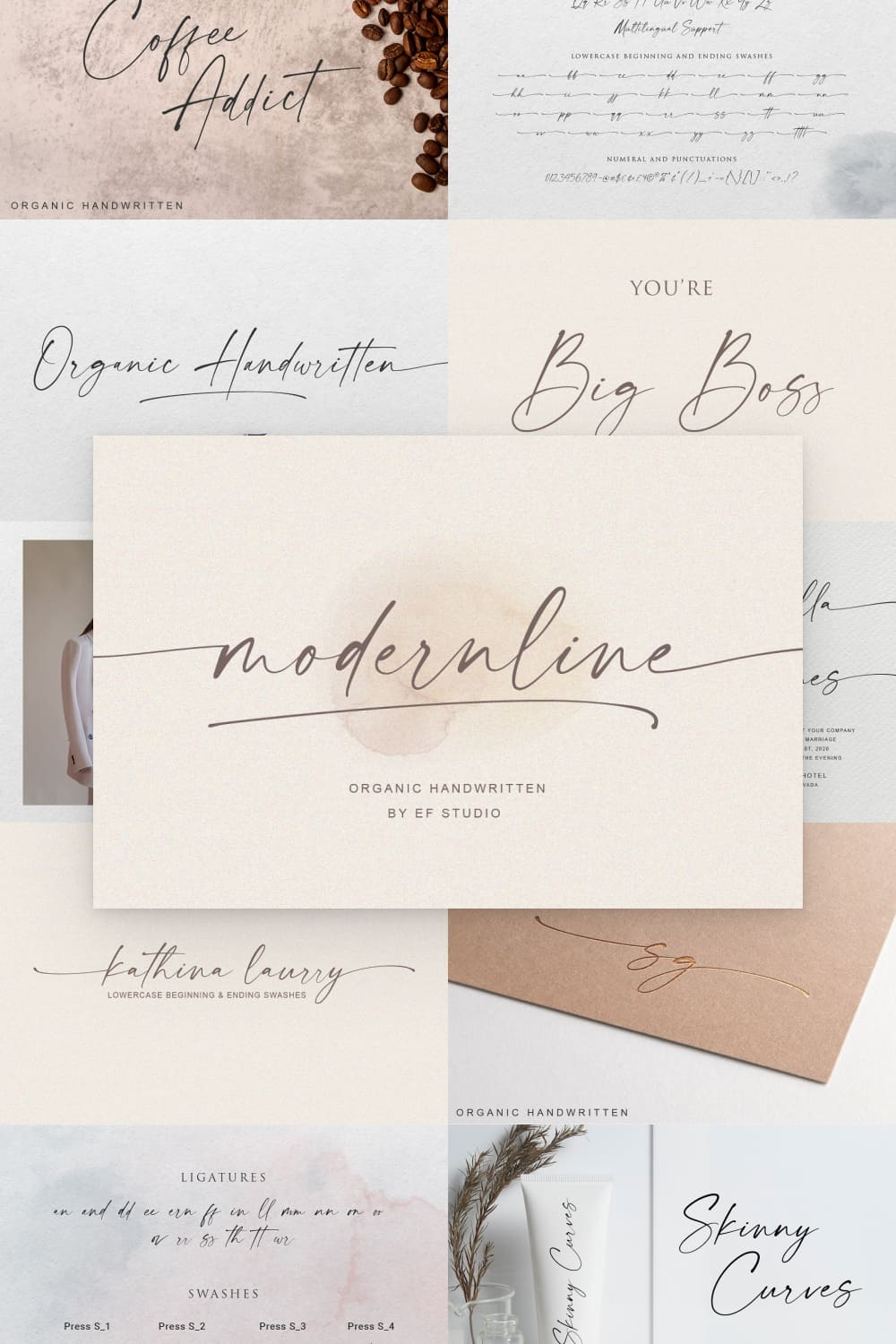 Modernline is an organic handwritten font that is suitable for branding, signature, wedding invitation, promotion, product packaging, and other needs. This font is modern, simple, but still authentic.