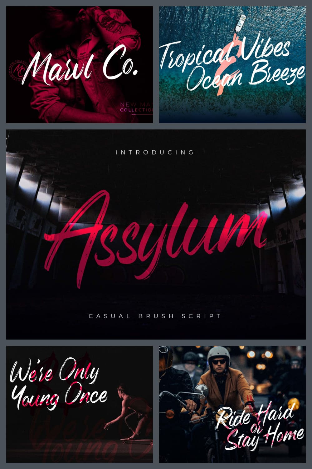 Assylum is a casual handwritten brush characterized by its signature style dry strokes.