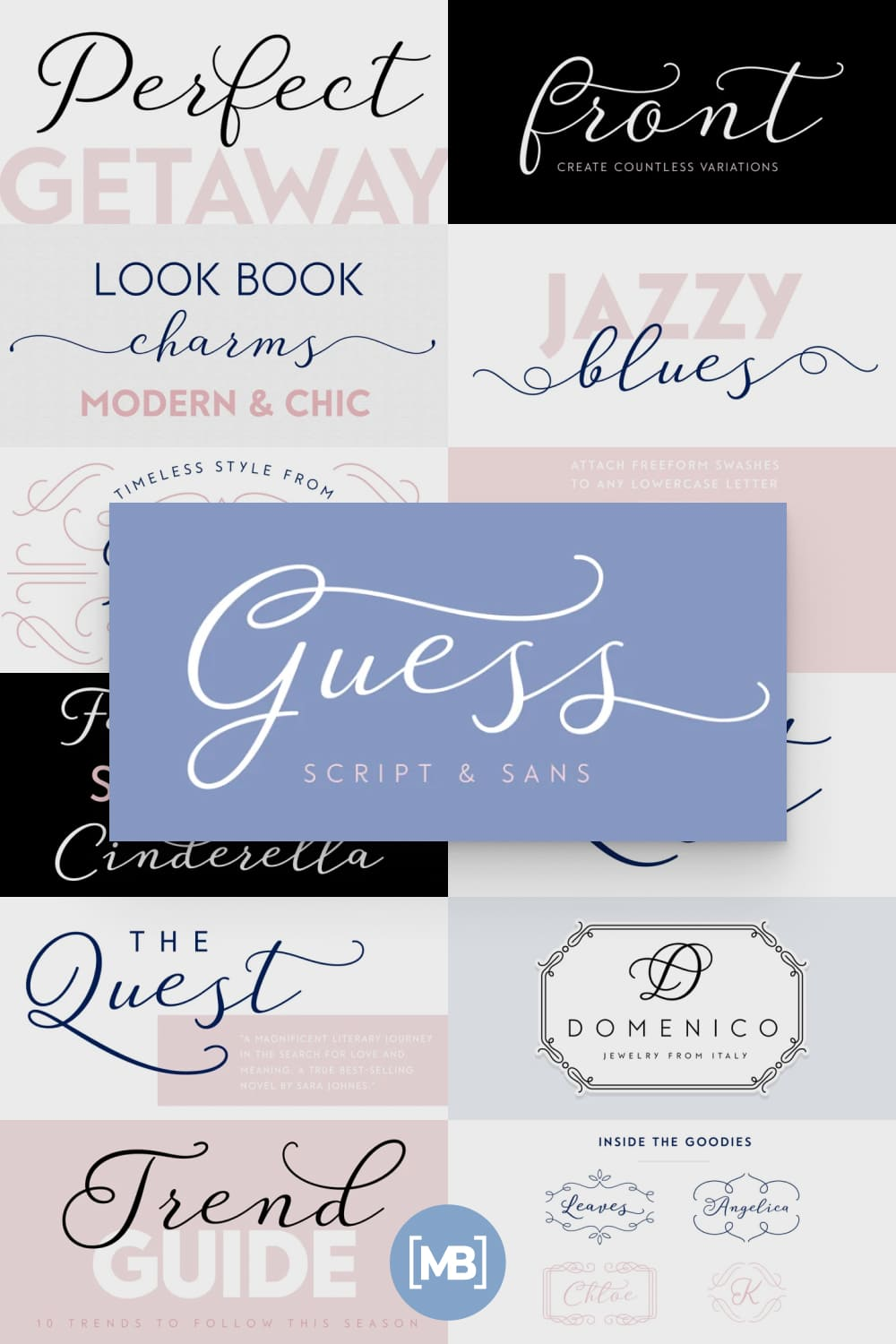 Guess is a versatile, connecting script, designed to convey elegance and style.