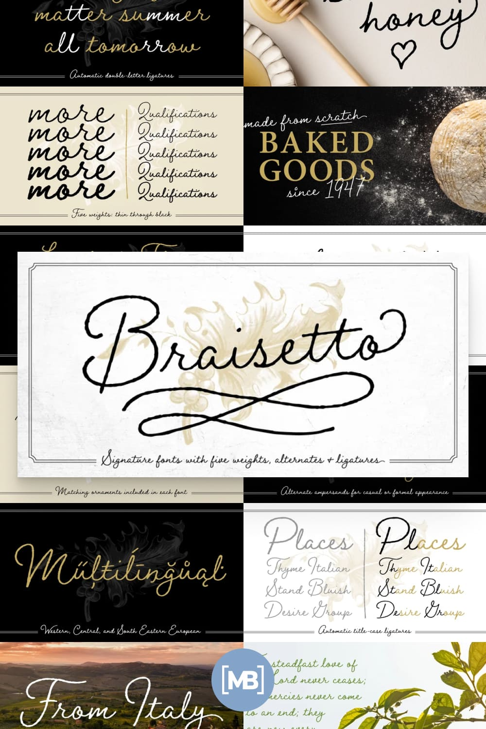 Braisetto is a handwritten, signature font family with five weights, multiple alternates, and natural ligatures.