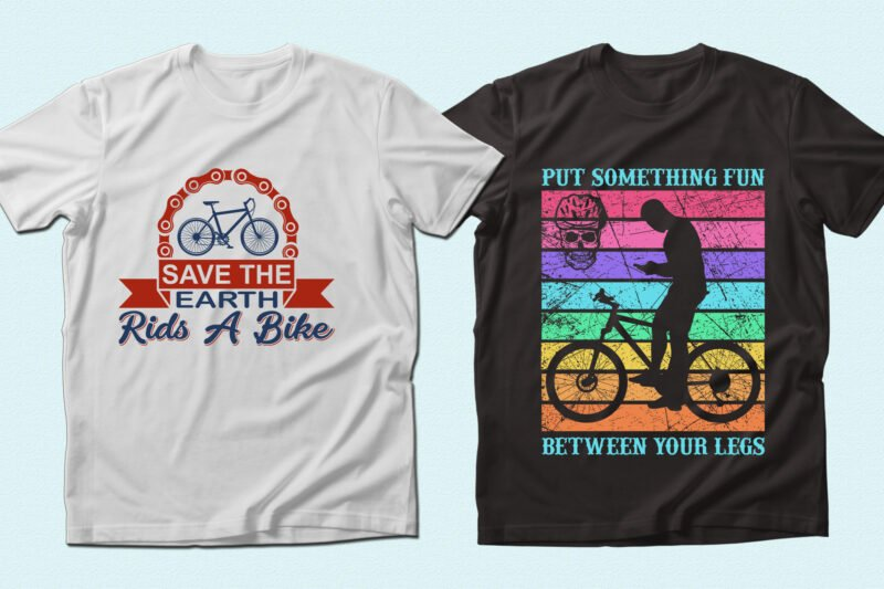 Two t-shirts with colorful graphics.