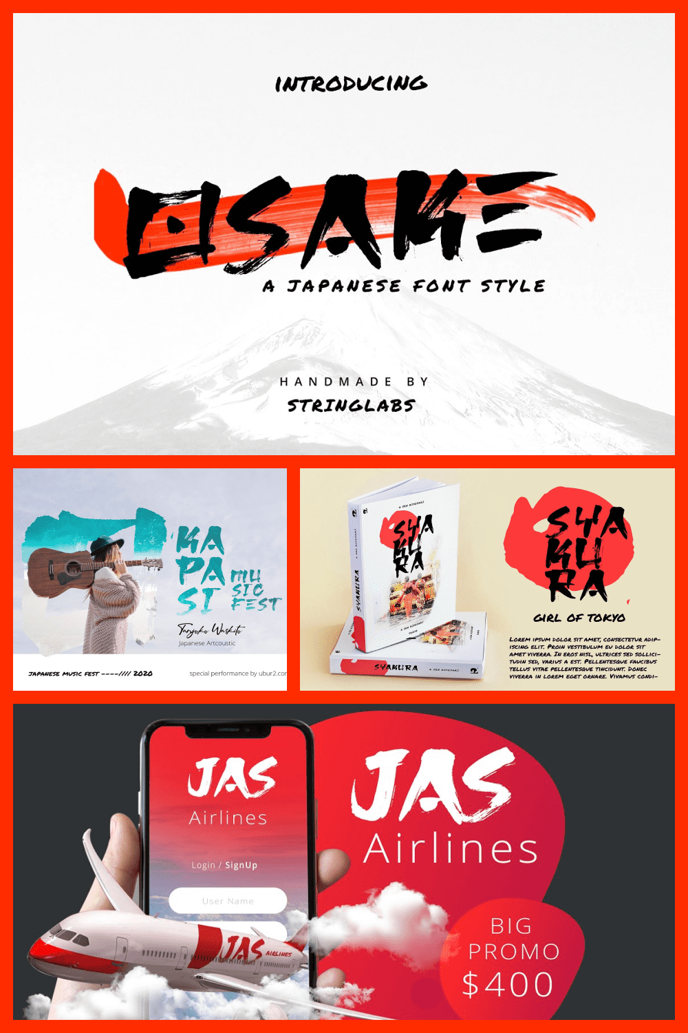Osake is a japanese brush font that we made with excellent taste.
